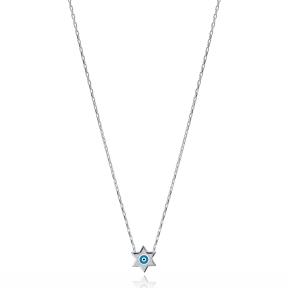 Minimalist Evil Eye Design Star Shape Charm Necklace Turkish Wholesale 925 Sterling Silver Jewelry