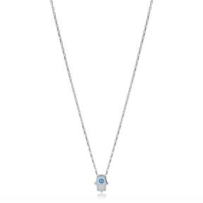 Minimalist Evil Eye Design Hamsa Shape Charm Necklace Turkish Wholesale 925 Sterling Silver Jewelry