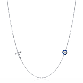 Minimalist Cross and Evil Eye Charm Necklace Turkish Wholesale 925 Sterling Silver Jewelry