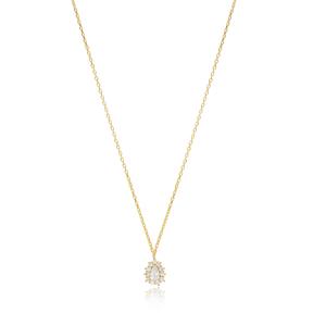 Minimalist Elegant Zircon Stone Necklace Turkish Wholesale 925 Sterling Silver Jewelry
