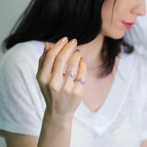 Two Bar Design Irregular Shape Dainty Turkish Adjustable Open Silver Wholesale Ring