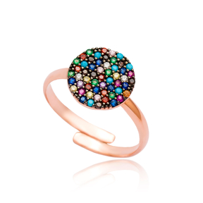 Colorful Stone Adjustable Silver Ring Wholesale Handmade 925 Sterling Silver