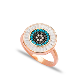 Baguette Evil Eye Ring Wholesale Handcrafted 925 Sterling Silver Ring