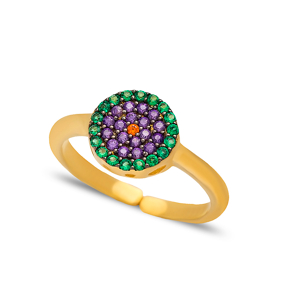 Round Shape Adjustable Ring Turkish Wholesale Handcrafted 925 Silver Jewelry