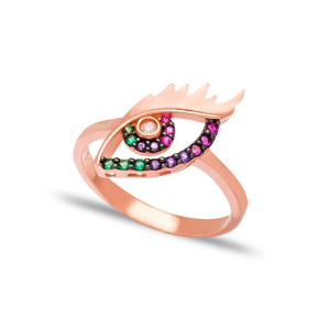 Rainbow Evil Eye Design Ring 925 Sterling Silver Wholesale Handcrafted Jewelry