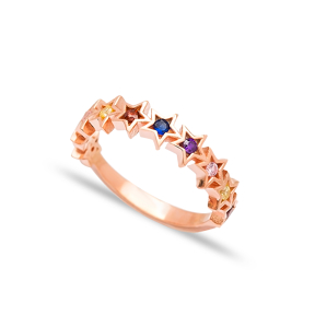 Rainbow Star Band Ring Turkish Wholesale Handcrafted 925 Sterling Silver Ring