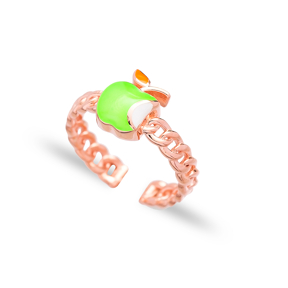 Green Apple Design Adjustable Ring Wholesale 925 Silver Sterling Jewelry