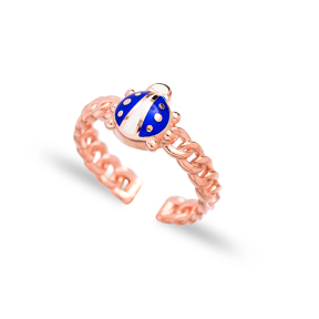 Blue Ladybug Design Adjustable Ring Wholesale 925 Silver Sterling Jewelry