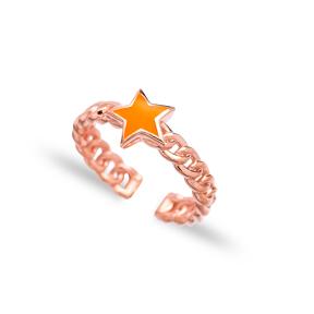 Orange Enamel Star Design Adjustable Ring Wholesale 925 Silver Sterling Jewelry