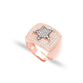 Rectangle Shape Star Design Adjustable Ring Wholesale 925 Silver Sterling Jewelry