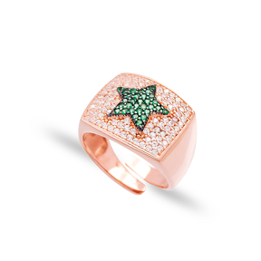Emerald Stone Star Design Adjustable Ring Wholesale 925 Silver Sterling Jewelry