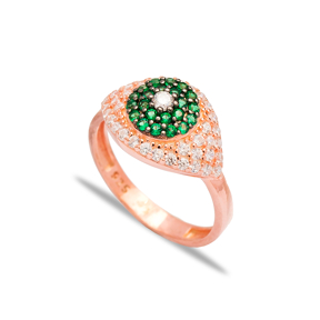 Emerald Stone Eye Shape Design Ring Wholesale Handcrafted 925 Sterling Silver Jewelry