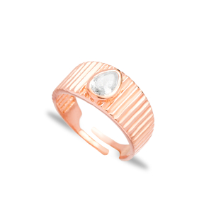 Little Finger Adjustable Ring Drop Shape Zircon Stone Design Wholesale 925 Silver Sterling Jewelry