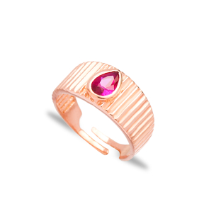 Little Finger Adjustable Ring Drop Shape Ruby Stone Design Wholesale 925 Silver Sterling Jewelry
