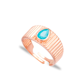 Little Finger Adjustable Ring Drop Shape Aquamarine Stone Design Wholesale 925 Silver Sterling Jewelry
