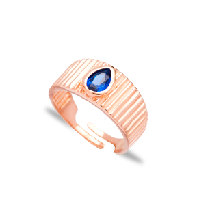 Little Finger Adjustable Ring Drop Shape Sapphire Stone Design Wholesale 925 Silver Sterling Jewelry