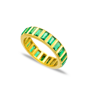 Emerald Stone Design Band Ring Turkish Wholesale Handcrafted 925 Sterling Silver Jewelry