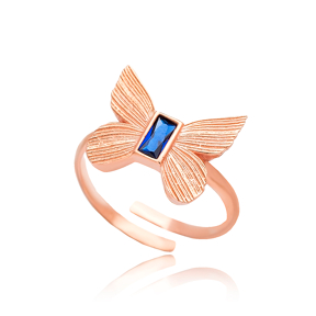 Butterfly Design Sapphire Stone Adjustable Ring Turkish Wholesale 925 Silver Sterling Jewelry