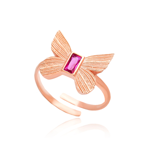 Butterfly Design Ruby Stone Adjustable Ring Turkish Wholesale 925 Silver Sterling Jewelry