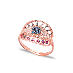 Turkish Evil Eye Style Elegant Ring Wholesale 925 Sterling Silver Jewelry