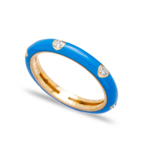 Blue Enamel Cubic Zirconia  Silver Band Ring Turkish Wholesale Jewelry