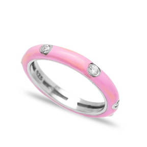Pink Enamel CZ Stone Wholesale 925 Sterling Silver Silver Band Ring