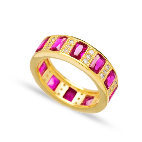 Baguette Ruby Stone Band Ring Turkish Wholesale 925 Sterling Silver Jewellery