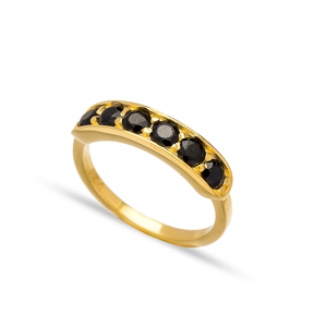Black Zircon Stone Band Rings Turkish Wholesale 925 Sterling Silver Jewelry