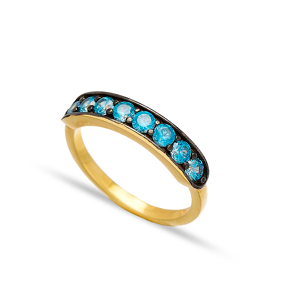 Blue Quartz Zircon Band Rings Turkish Wholesale 925 Sterling Silver Jewelry