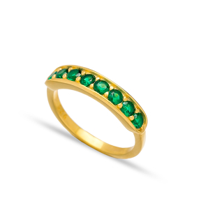 Emerald Stone Band Ring Handmade Turkish Wholesale 925 Sterling Silver Jewelry