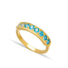 Blue Zircon Stone Band Ring Handmade Turkish Wholesale 925 Sterling Silver Jewelry