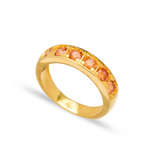 Citrine Stone Band Ring Wholesale Handcrafted Turkish 925 Sterling Silver Jewelry