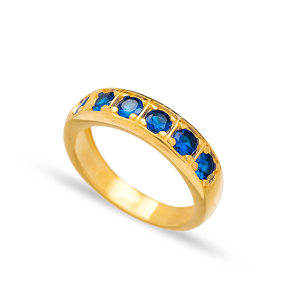 Sapphire Stone Band Ring Wholesale Handcrafted Turkish 925 Sterling Silver Jewelry