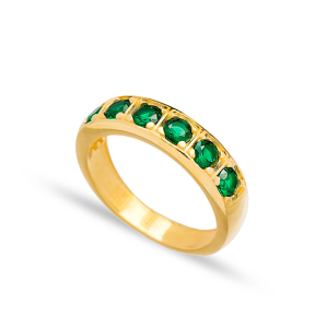 Emerald Stone Band Ring Wholesale Handcrafted Turkish 925 Sterling Silver Jewelry