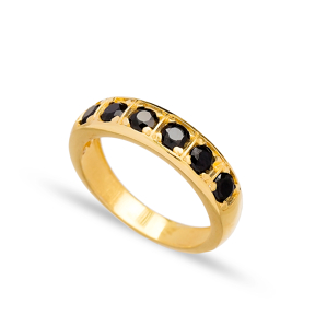 Black Zircon Stone Band Ring Wholesale Handcrafted Turkish 925 Sterling Silver Jewelry