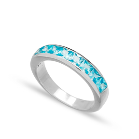 Silver Band Rings Blue Quartz Zircon Handmade Wholesale Turkish 925 Sterling Silver Jewelry