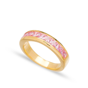 Baguette Pink Zircon Silver Band Rings Handmade Wholesale Turkish 925 Sterling Silver Jewelry