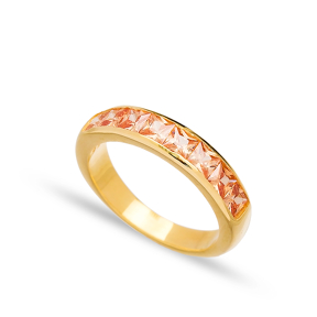 Citrine Silver Baguette Band Rings Handmade Wholesale Turkish 925 Sterling Silver Jewelry