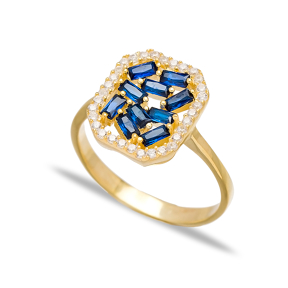 Sapphire Baguette Elegant Design  Turkish Rings Wholesale Handmade 925 Sterling Silver Jewelry
