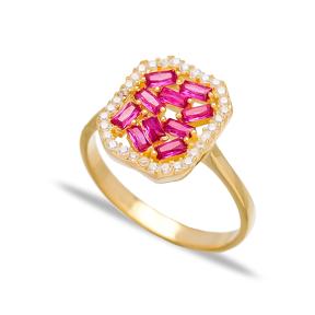 Ruby Baguette Elegant Design  Turkish Rings Wholesale Handmade 925 Sterling Silver Jewelry