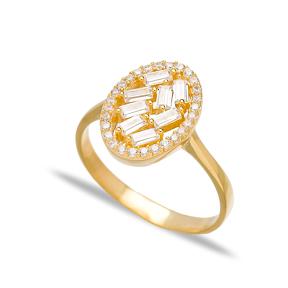 Oval Design Zircon Baguette Turkish Rings Wholesale Handmade 925 Sterling Silver Jewelry
