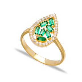 Emerald Drop Design Baguette Turkish Rings Wholesale Handmade 925 Sterling Silver Jewelry