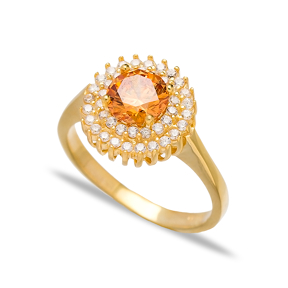 Citrine Dainty Design Turkish Rings Wholesale Handmade 925 Sterling Silver Jewelry