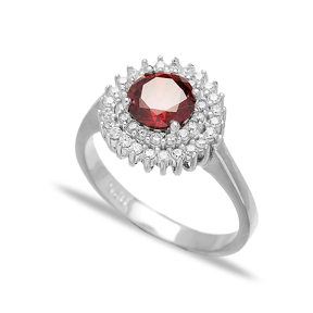 Garnet Stone Dainty Design Turkish Rings Wholesale Fashion 925 Sterling Silver Jewelry