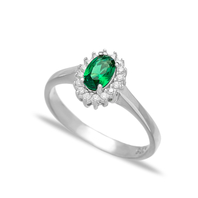 Minimalist Emerald Stone Dainty Turkish Rings Wholesale Fashion 925 Sterling Silver Jewelry