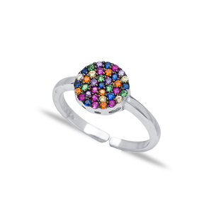 Mix Stone Minimal Round Ring Turkish Wholesale Handcrafted Silver Jewelry