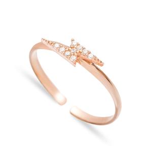 Lightening Design Minimal Adjustable Ring Handmade Wholesale Sterling Silver Jewelry