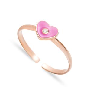 Pink Enamel Heart Design Adjustable Ring Handmade Wholesale Sterling Silver Jewelry