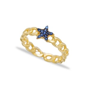 Sapphire Stone Star Design Adjustable Ring Turkish Wholesale Handcrafted 925 Silver Jewelry