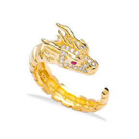 Fashionable Dragon Design Adjustable Ring Turkish Handmade Wholesale 925 Sterling Silver Jewelry